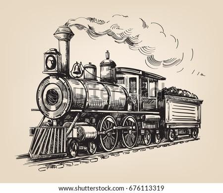 Steam Locomotive Transport Hand Drawn Vector Stock Vector ...