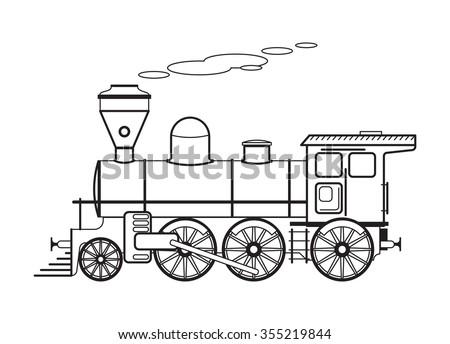 Steam locomotive. Vector illustration - stock vector