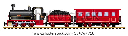 steam locomotive with wagons, vector illustration - stock vector