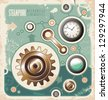 Steam punk creative concept of mechanical schematics. Retro background with engineering scheme. Vintage industrial info graphic. - stock photo