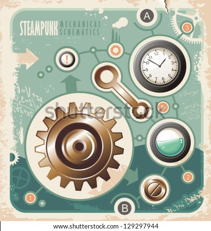 Steam punk creative concept of mechanical schematics. Retro background with engineering scheme. Vintage industrial info graphic. - stock vector