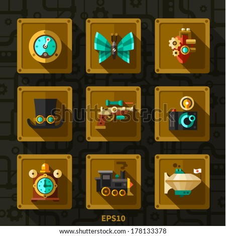 Steam punk elements and icon. Vector flat icons - stock vector