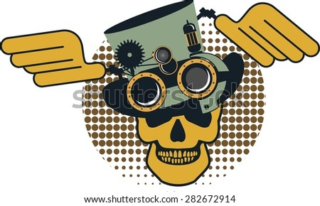 Steam punk illustration of a human skull in a hat with details on a white background - stock vector