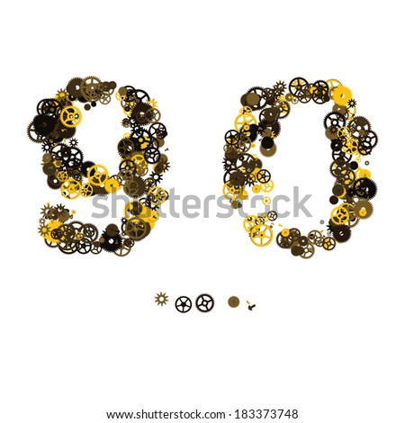Steam punk mechanical digits made of gears and screws. 9, 0 - stock vector