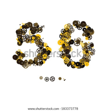 Steam punk mechanical digits made of gears and screws. 5, 6 - stock vector