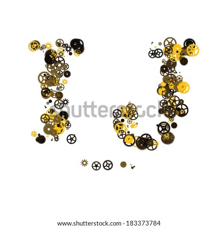 Steam punk mechanical letters made of gears and screws. I, J - stock vector