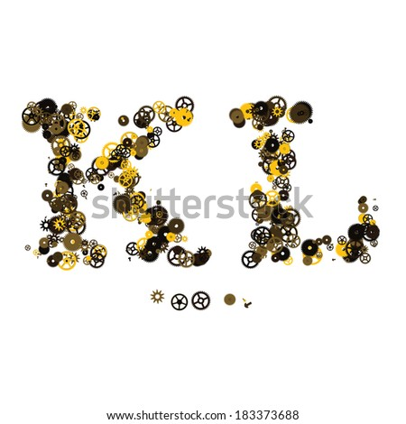 Steam punk mechanical letters made of gears and screws. K, L