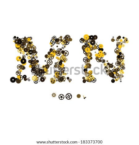 Steam punk mechanical letters made of gears and screws. M, N