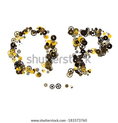 Steam punk mechanical letters made of gears and screws. O, P - stock vector