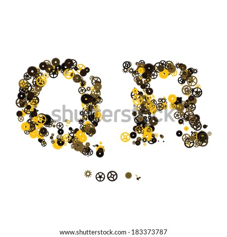 Steam punk mechanical letters made of gears and screws. Q, R
