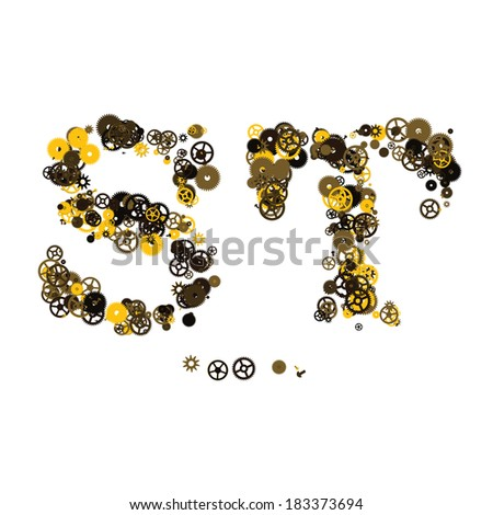 Steam punk mechanical letters made of gears and screws. S, T