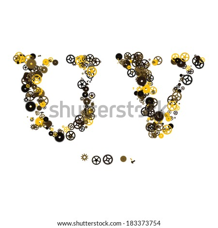 Steam punk mechanical letters made of gears and screws. U, V - stock vector