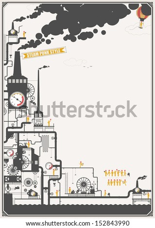 Steam punk style factory - stock vector