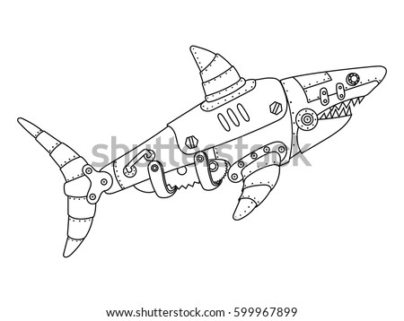 Robot Shark Coloring Pages