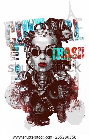 Steam punk vector illustration - stock vector