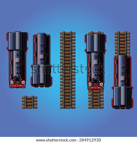 steam train locomotive pixel art style game asset vector illustration - stock vector