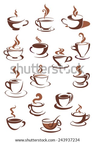Steaming coffee cups isolated on white in sketch style for fastfood or cafe menu design - stock vector