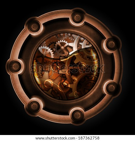 Steampunk abstract mechanism. Gears in machine oil. - stock vector