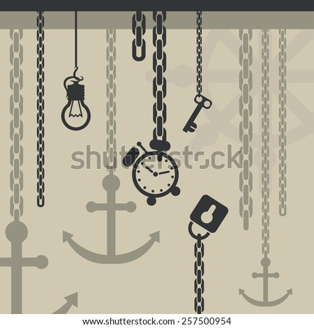 Steampunk background design of vintage padlock, key, retro clock and lamp bulb - stock vector