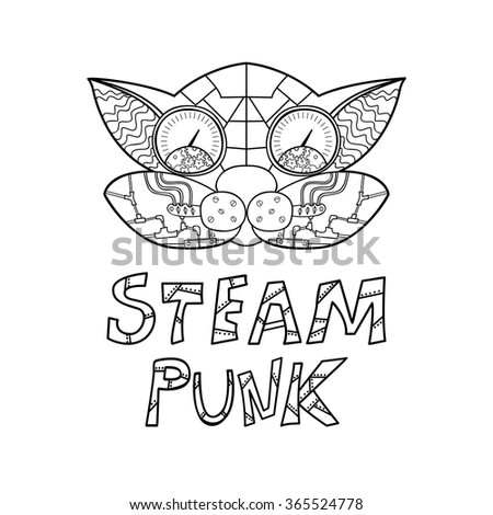 Steampunk black and white doodle card. Suitable for any type of design theme invitation postcards or fliers, posters,, tattoo T-shirt printing or on different things. Vector illustration. - stock vector