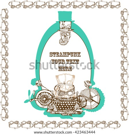 Steampunk card design, hand drawn vector illustration. Steampunk elements for your design. - stock vector