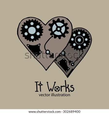 "Steampunk card, two techno hearts with blue elements on the grey background, with decorative text ""It Works"" - stock vector"