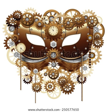 Steampunk Carnival Party Mask - stock vector