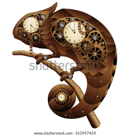 Steampunk Chameleon Vintage Style - stock vector