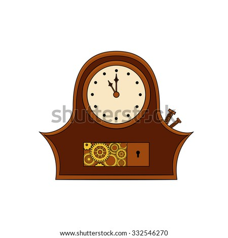 Steampunk clock with metal gears in doodle style - stock vector
