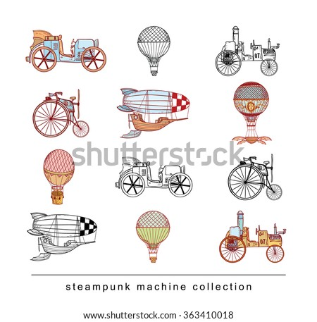 Steampunk collection, hand drawn vector illustration. - stock vector