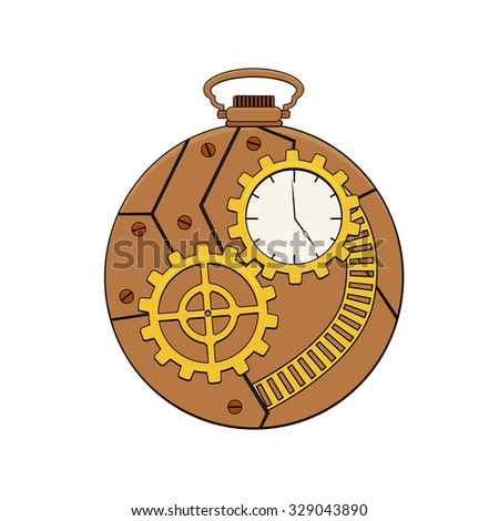 Steampunk copper pocket clock with metal gears in doodle style - stock vector