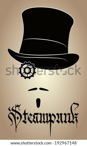 Steampunk cylinder, mustache, beard and gear in the form of a monocle - stock vector