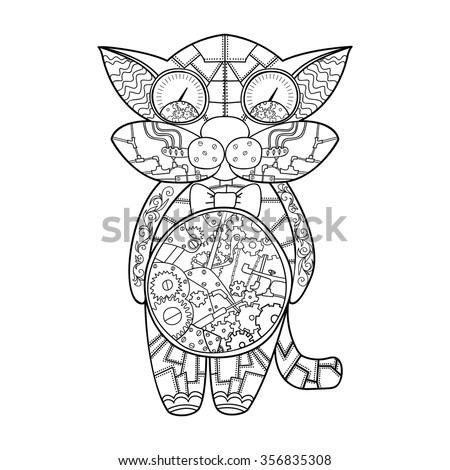 Steampunk doodle cat.  Perfect for any kind of design invitation or greeting cards, flyers, posters, tattoo, print on a t-shirt or on various things. Vector illustration. - stock vector