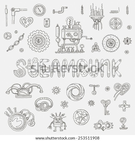 Steampunk doodle elements. Vector illustration - stock vector