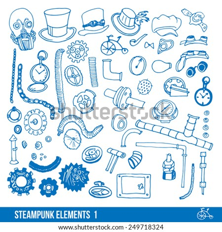 Steampunk elements for infographic and design - stock vector