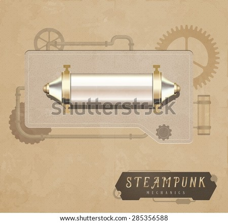 Steampunk elements on vintage background - stock vector