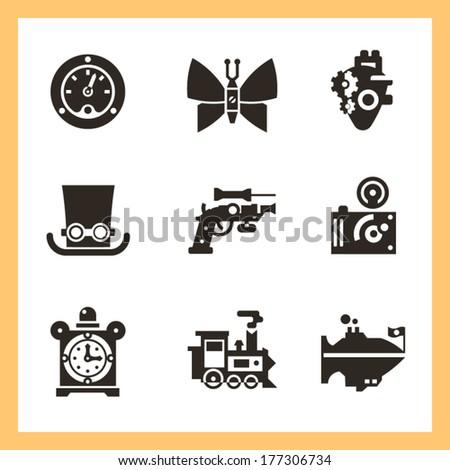 Steampunk elements. Vector flat icons, black - stock vector