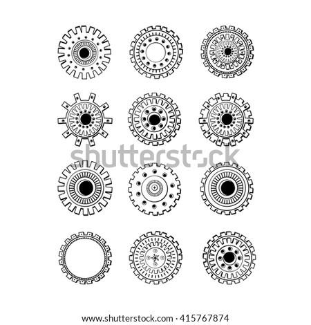 Steampunk gear-wheel round elements. Set.Black color - stock vector