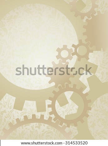 Steampunk Gears Background on Parchment. Background vector illustration of nicely faded gears on old paper. - stock vector