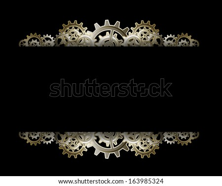 Steampunk gears frame - stock vector