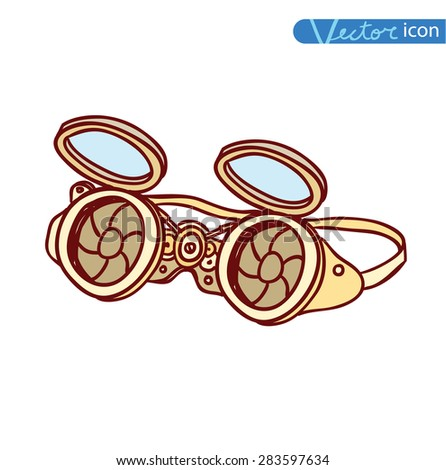 Steampunk glasses, hand drawn vector illustration. - stock vector