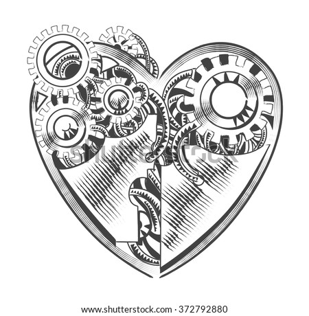 steampunk hipster vector drawing Valentine heart art element for card, site. - stock vector