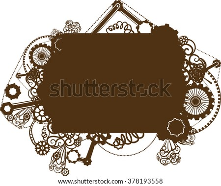 Steampunk Illustration Featuring the Silhouette of a Frame Surrounded by Cogs and Gears - stock vector