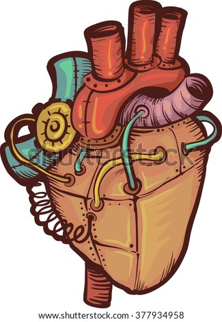 Steampunk Illustration of a Heart Made of Metals - stock vector