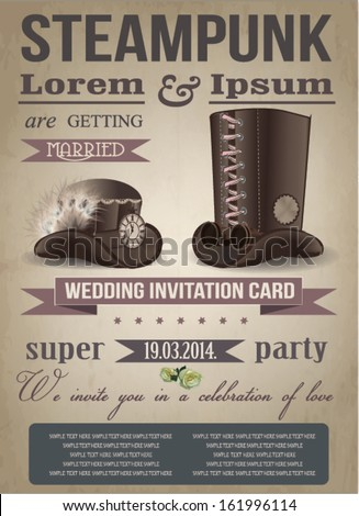 Steampunk invitation card, vintage, wedding - stock vector