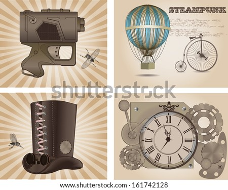 Steampunk labels, vintage style - stock vector