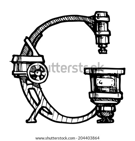 Steampunk letter  made of different technical pieces: pipes, blocks, screws, etc. Stylized as engraving. Letter G. - stock vector