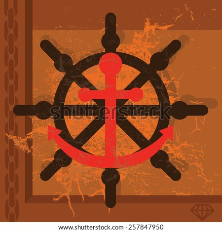 Steampunk navigation background with steering wheel and anchor - stock vector