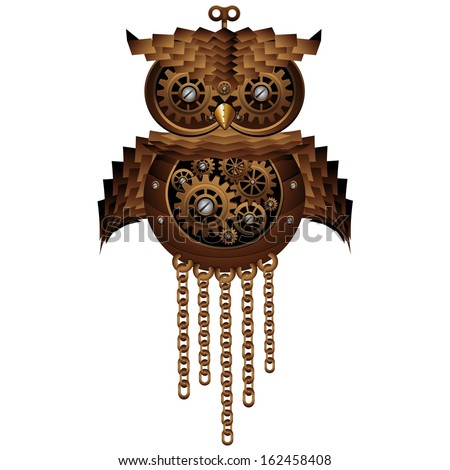 Steampunk Owl Style Mechanical Toy - stock vector