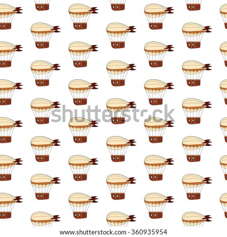 Steampunk pattern with dirigible in doodle style - stock vector